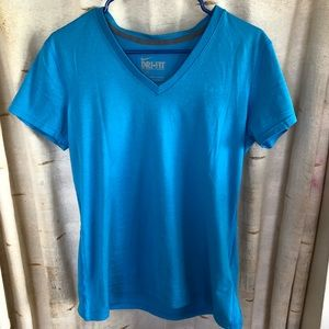 Nike Dry Fit Women's Workout Shirt Medium-Blue VGC